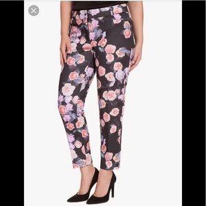 Eloquii Printed Kady Pant in Coral Charm Rose- 22